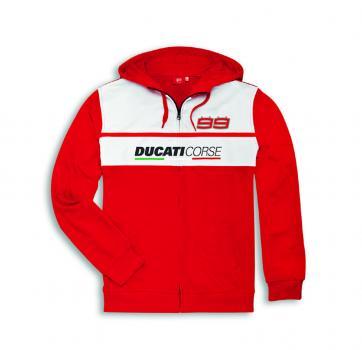Ducati Jorge Lorenzo Sweatshirt mit Kapuze rot/weiß